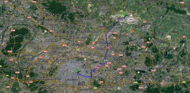 Charles de Gaulle airport Transfer map